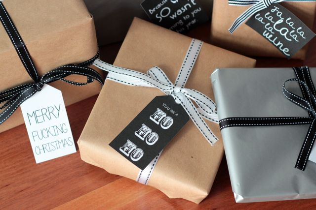 free download - cheeky christmas gift tags in black and white from The Thud