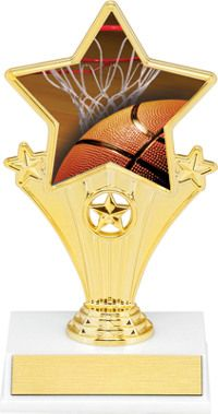 Basketball Super Star Trophy | Dinn Trophy New! Basketball super star trophy. Featuring 40 letters of free trophy personalization, this trophy is an unbeatable value ($0.10 per additional character)!