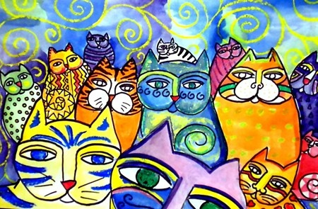 I did this lesson with my kids a few years ago -- I had fun making my own - Laurel Burch inspired Bali cats..  Happy joyful colors!