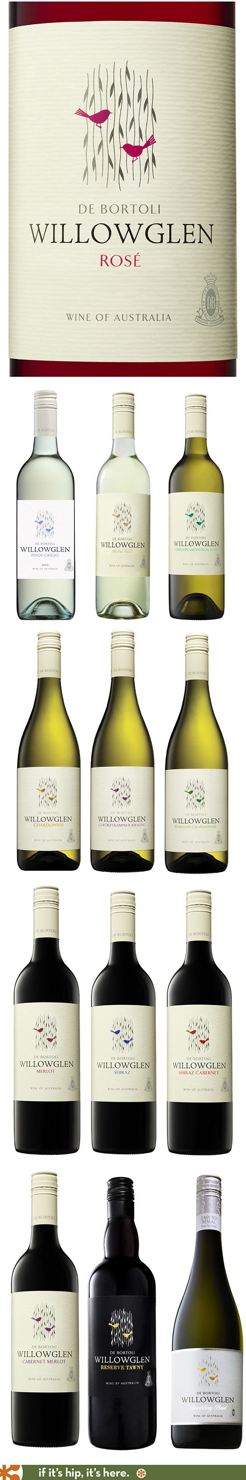 Willowglen's beautiful bird label changes colors for all their various wines.