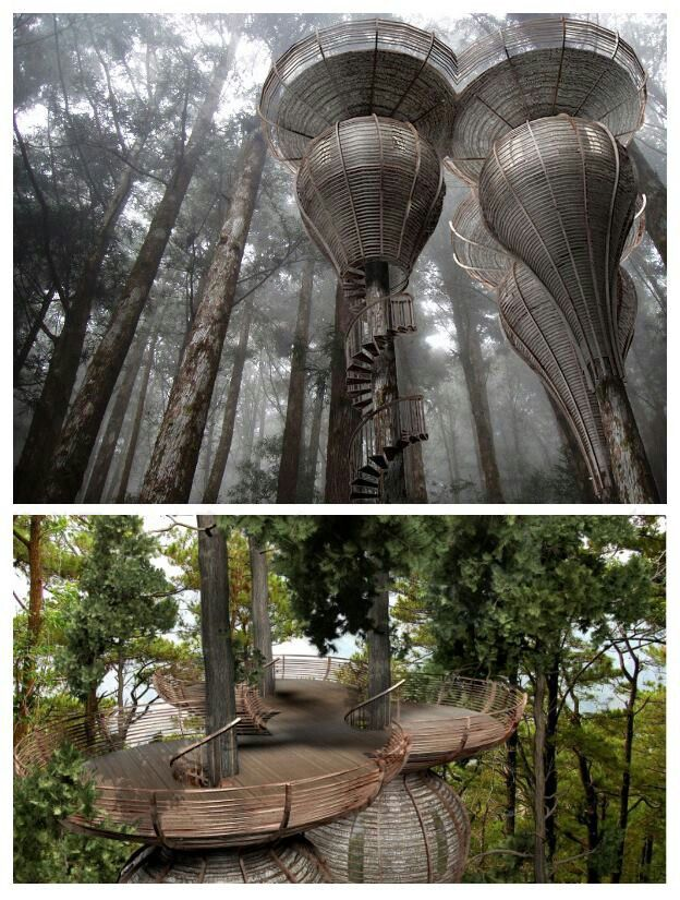 It Is Designed To Copy The Natural Curves Found In Nature. The Purpose Was  To Build A Treehouse That Could Blend In With The Surrounding Forest.