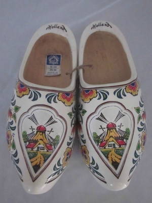 Dutch Wood Clogs hand painted with Windmills