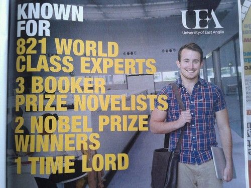 advertisement for the university that Matt Smith went to. Well, if a Time Lord went there...SIGN ME UP!
