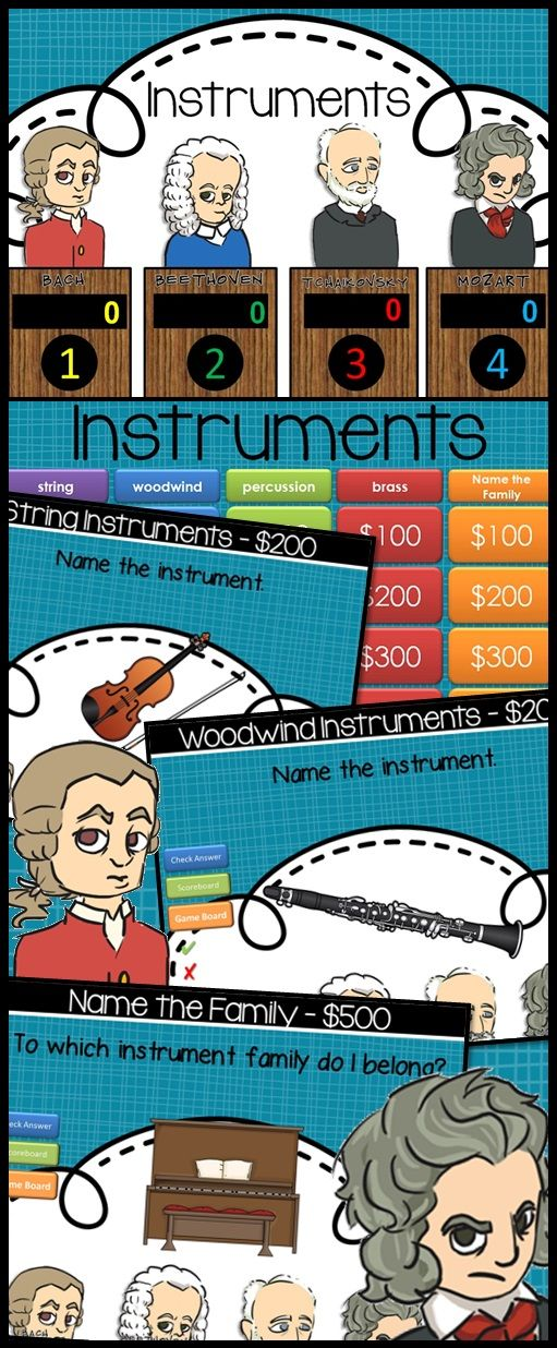 Have fun in Music with this fabulous Instruments Jeopardy style Game Show!!  Excellent practice for reviewing many types of instruments. With 25 practice problems, in a game show setting, your students will get lots of review. This has been such a fun collaborative effort with Tweet Music.  Game Show categories include: strings woodwind percussion brass Name that Family  $