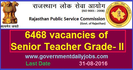 SENIOR TEACHER VACANCY THROUGH RPSC RECRUITMENT 2016 ~ Government Daily Jobs