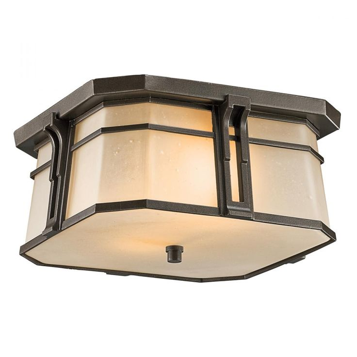 This craftsman style exterior flushmount light from kichler is energy efficient comes with
