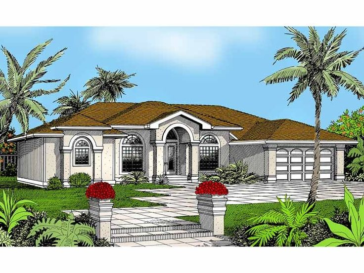 Mediterranean House Plan with 2710 Square Feet and 3 Bedrooms from Dream Home Source   House Plan Code DHSW14216