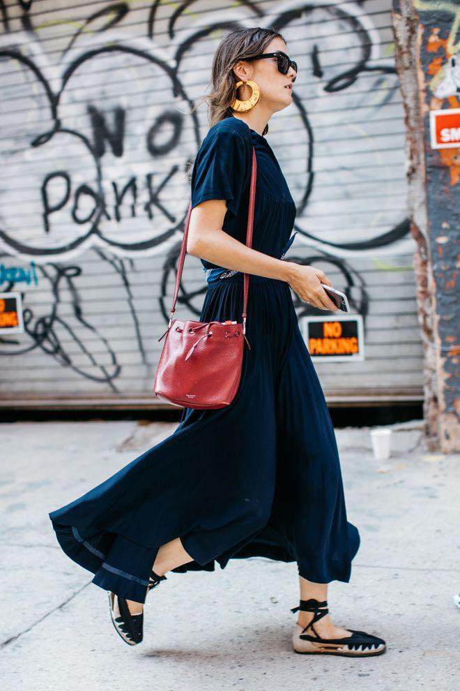 Street style à la Fashion Week printemps-été 2017 de New York : robe bohème