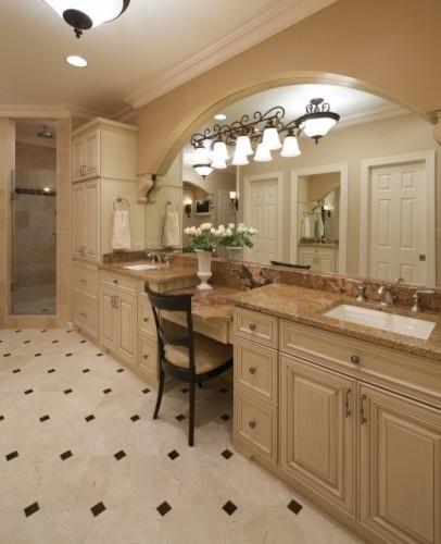 Cool arch over mirrorVanities Area, Bathroom Vanities, Bathroom Designs, Bathroomdesign, Bathroom Ideas, Traditional Bathroom, Master Baths, Masterbathroom, Master Bathroom