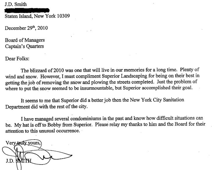 letter regarding staten island snow removal