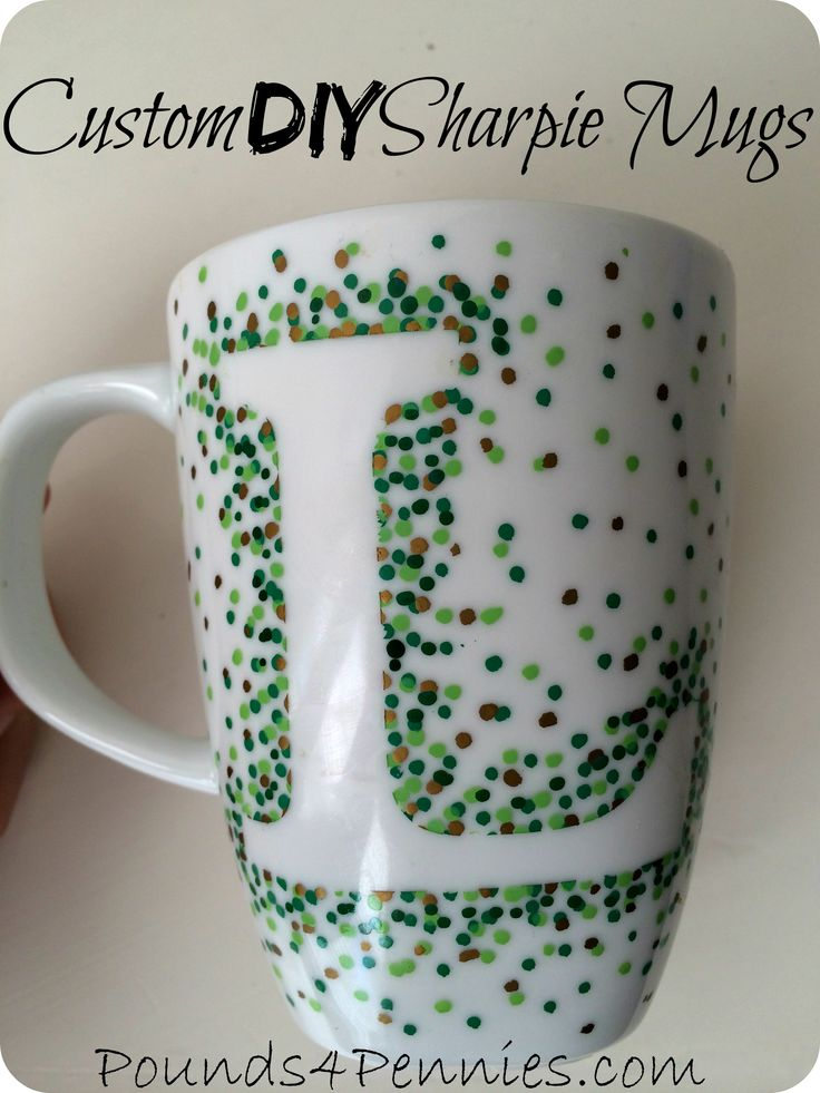 The easiest design to make Sharpie mugs with little to no artistic skill. This is the easiest way to create custom mugs using Sharpie oil based markers.