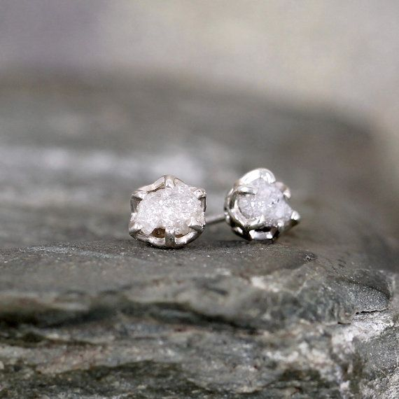 Raw Diamond Earrings – Sterling Silver Filigree Inspired – 1 Carat Stud Earring – April Birthstone – Uncut Gemstone – Conflict Free Diamonds