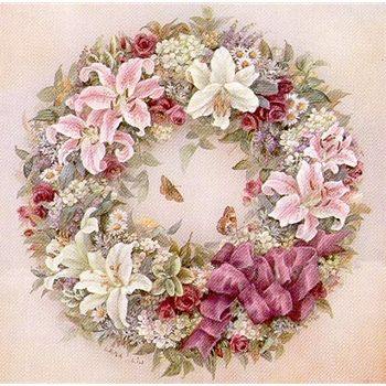 "Lena Liu ""Wreath of Lilies"" is a signed print and canvas by floral watercolor artist Lena Liu"