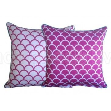 #PINK Fishscale Outdoor UV Treated #Cushion Cover with Bright Aqua piping is a… $39.99