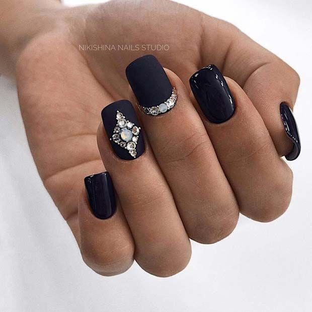 41 Edgy Matte Black Nails To Inspire You Stayglam Rhinestone Nails Nails Design With Rhinestones Black Nail Designs