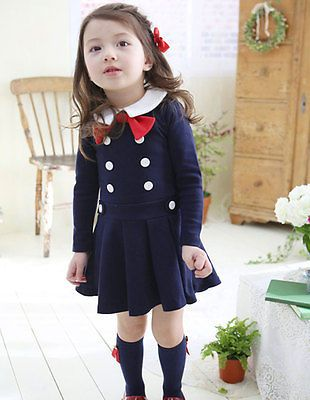 Girls Kids Toddlers School Uniform Long-sleeved Bowknot Cotton Tutu Dress 2-7Yrs