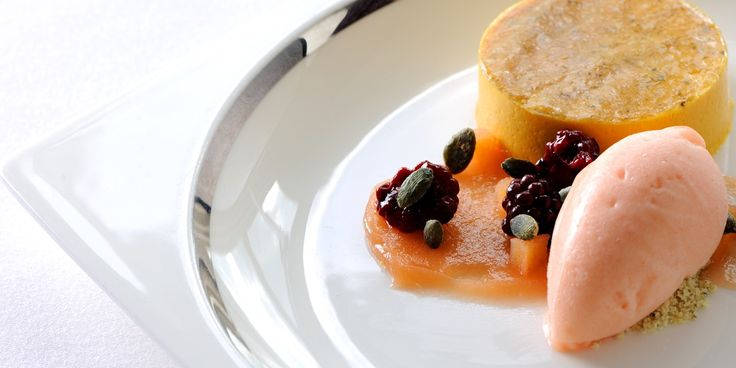 Butternut squash's sweet flavour is used in this Robert Thompson recipe to make an unconventional dessert. Quince sorbet and blackberries ad...