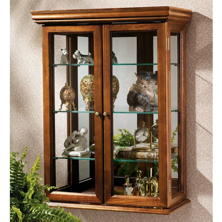 Country Tuscan Hardwood Wall Curio Cabinet