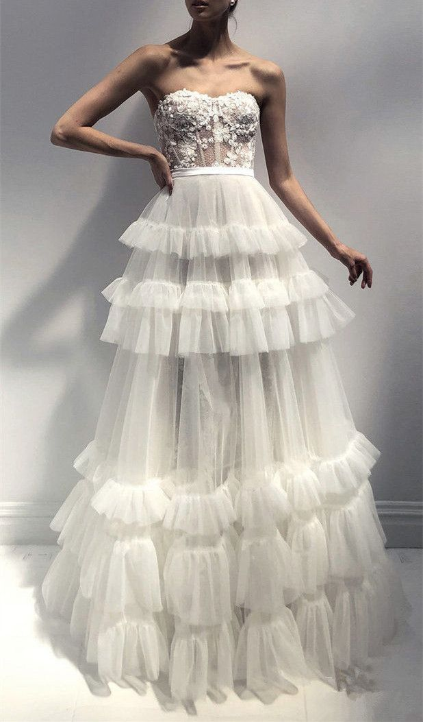 Classy Lace Tulle Layered Wedding Dresses,Strapless Ball Gown for Bridal from SexyPromDress