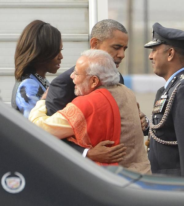 Indian Prime Minister Narendra Modi and U.S. President Barack Obama in New Delhi on Sunday. Obama's arrival Sunday morning in the bustling capital of New Delhi marked the first time an American leader has visited India twice during his presidency. Obama is also the first to be invited to attend India's Republic Day festivities, which commence Monday and mark the anniversary of the enactment of the country's democratic constitution. ■ Photos: AP