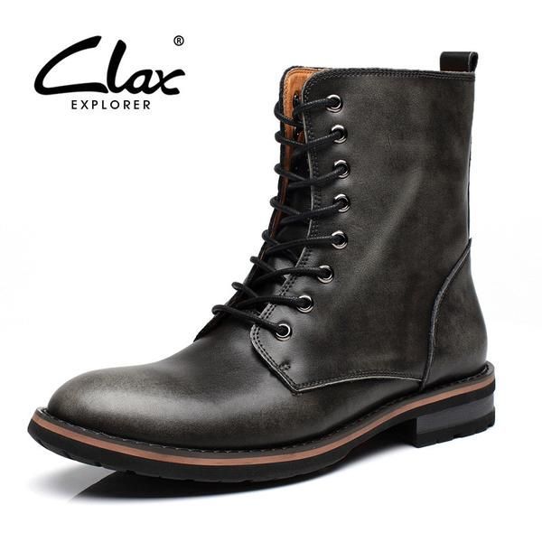 Clax Men High Boot Autumn Winter Men's Motorcycle Boots Fashion Designer Retro Vintage Leather Shoes Luxury Brand - The Big Boy Store