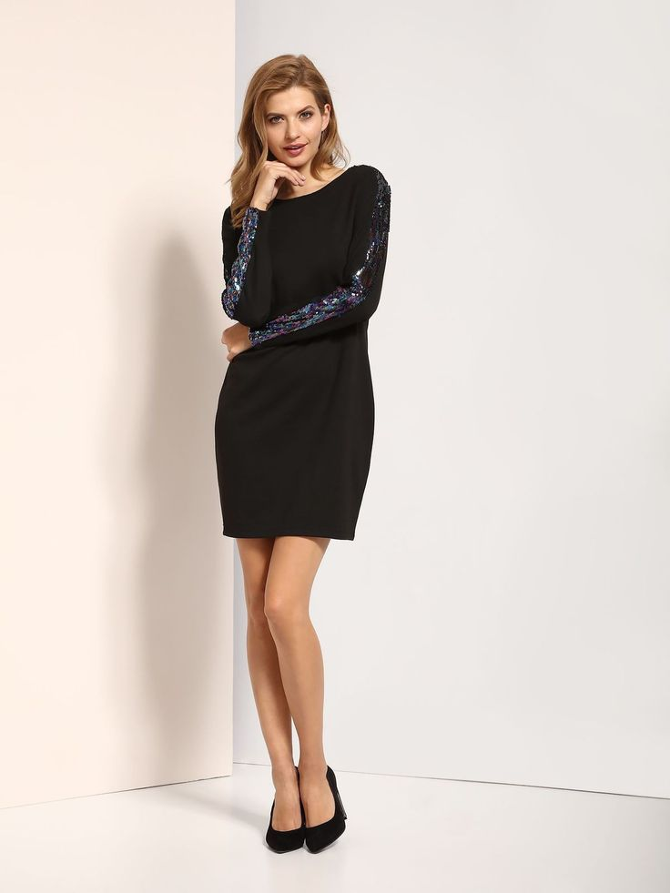 Black Sequin Long Sleeve Short Dress - Top Secret Short Dresses - Fashionhub. Short Black Dress,   R1395.00  http://fashionhub.co.za/black-sequin-sleeve-dress-by-top-secret.html