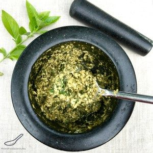Traditional real pesto recipe using a Mortar and Pestle, don't wimp out and use a food processor! Roll up your sleeves and bash your frustrations away. Pesto and therapy. Your welcome. Easy Pesto using a Mortar and Pestle
