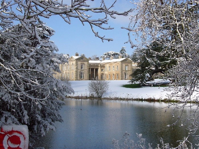 Compton Verney in the snow, Warwickshire, England.