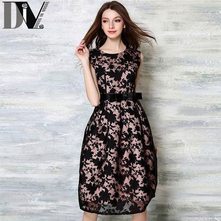 DIV Sleeveless Print Ball Gown Dresses Summer Women O-Neck Elegant Knee-Length…