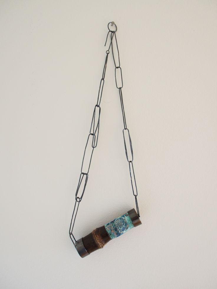 TAKE necklace (竹ネックレス) enamel on copper, black bamboo, copper, coyosa design - Sayoko Kobayashi, 2015 (15NE03BN)