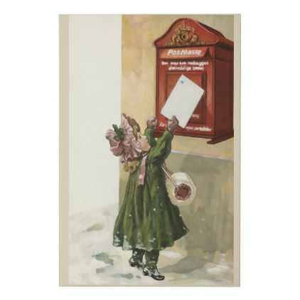 Vintage Little Girl at the red mailbox Faux Canvas Print - holidays diy custom design cyo holiday family