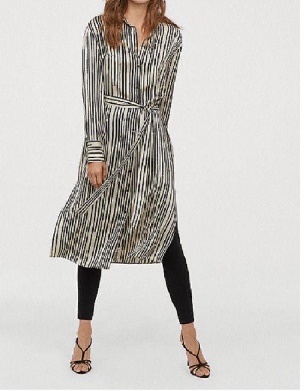 190d847c60 H&M Trend Conscious Midi Beige Black Striped Shirt Dress sz 0 2 4 6 10  #fashion #clothing #shoes #accessories #womensclothing #dresses (ebay link)