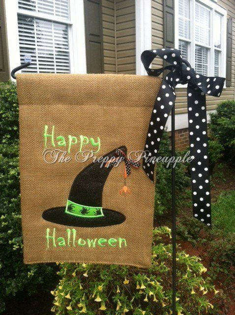 Halloween Burlap Garden Flag On Etsy, $25.00