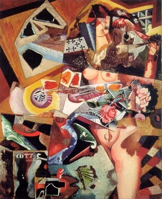 Amadeo de Souza Cardoso Coty ca. 1917 oil on canvas with collage 94 x 76 cm