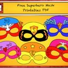 Free Superhero mask comes in six different color designs and four line art designs.  The set also includes blank masks and free cutouts to design your own masks.