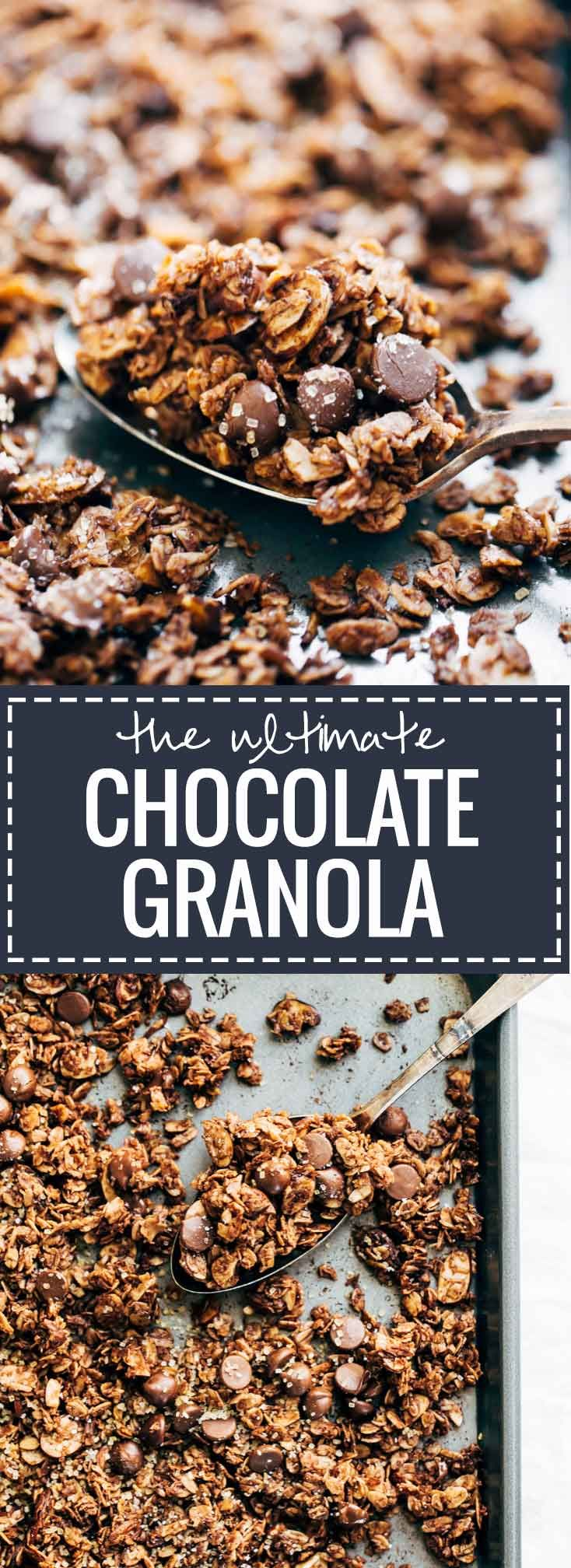 The Ultimate Chocolate Granola - Made with simple, healthy ingredients and topped with crunchy turbinado sugar and sea salt with lots of big clusters.