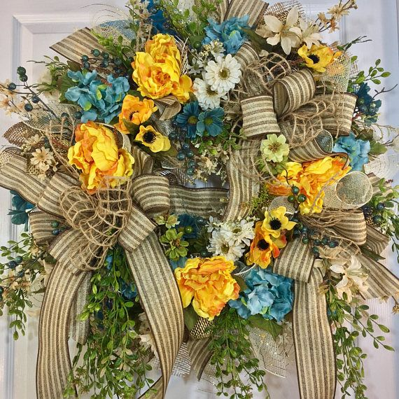 Teal and Yellow Greenery Summer and Fall Mesh Door Wreath