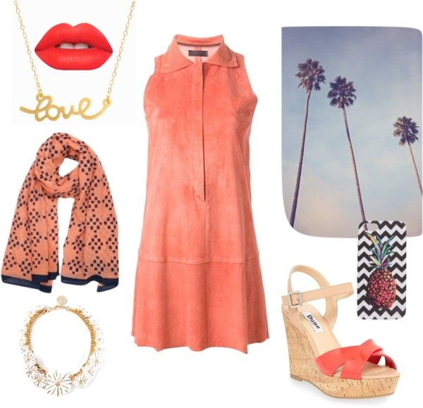 """""""Peach leather and happy summer"""" by florenzcollection on Polyvore"""
