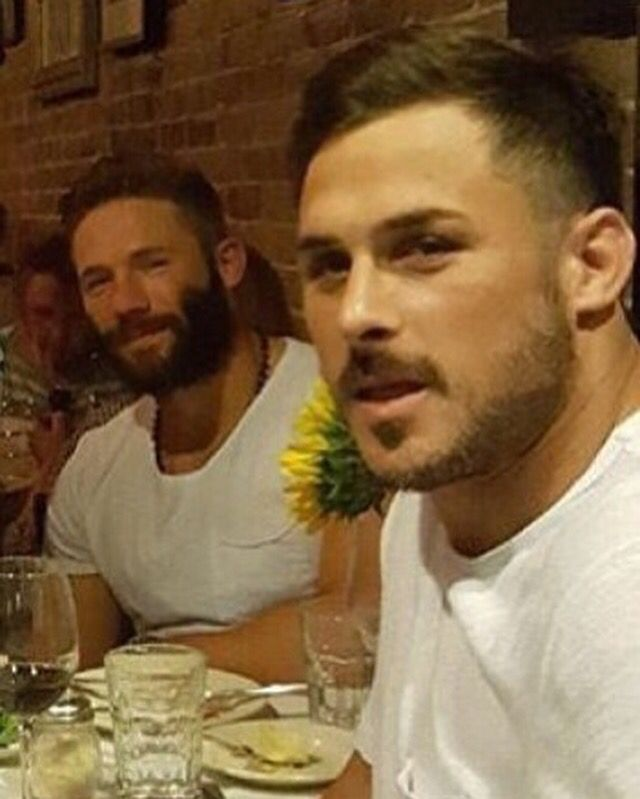 Julian Edelman and Danny Amendola at dinner on Boston at the North End on Saturday night right after Jules came home from the Carolina preseason game!