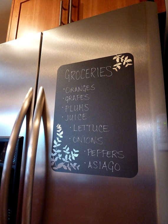 Chalkboard Vinyl Wall Decal  Great for the by ImagefountainDesigns, $18.00; don't think I'd stick it to a nice fridge, but cute idea.