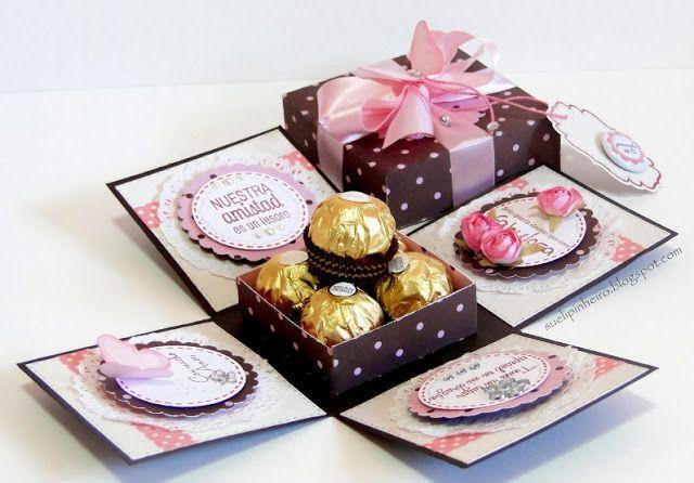 Tarjeta Caja con dulces, una idea súper creativa. #ManualidadesBombones