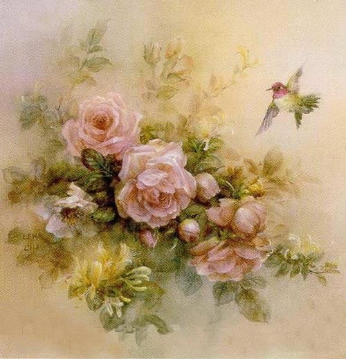Roses with a Hummingbird                                                       …