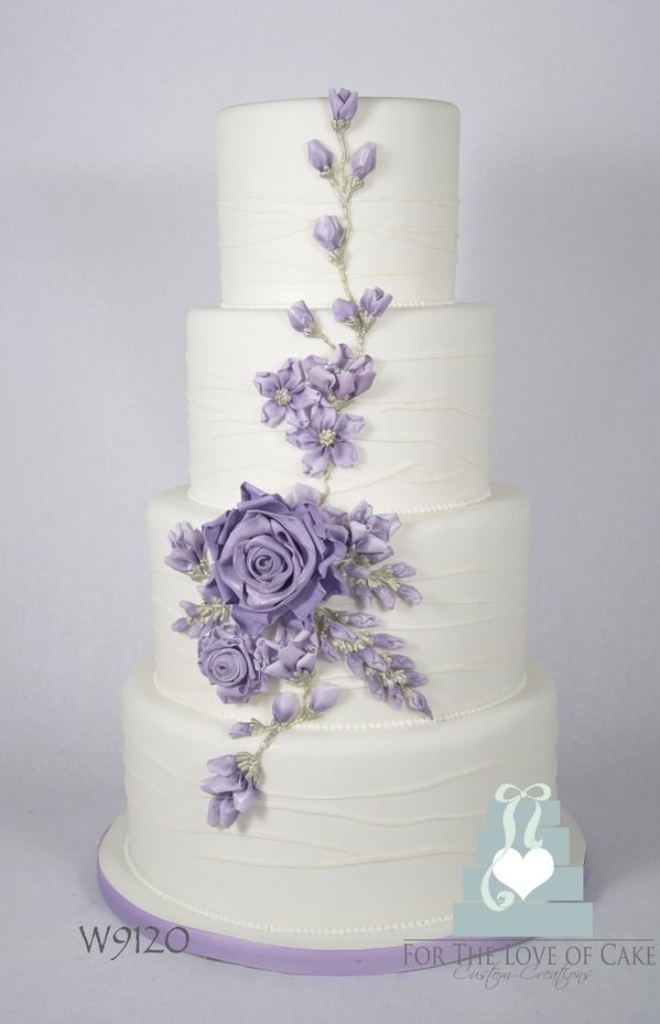 ribbon and flower wedding cake