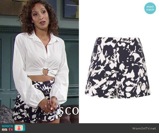 Lily's floral shorts on The Young and the Restless.  Outfit Details: https://wornontv.net/76604/ #TheYoungandtheRestless