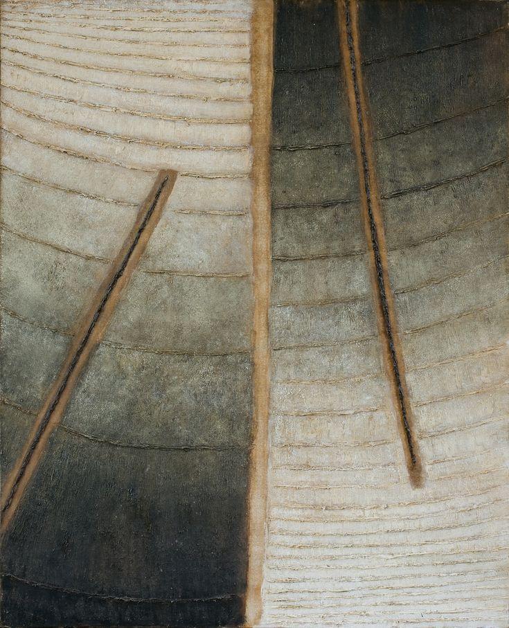 Stefan Gierowski | <i>MIJANIE PRZESTRZENI PIONOWYCH - OBRAZ CXXXI, 1963</i> | olej, płótno | 100 x 80 cm