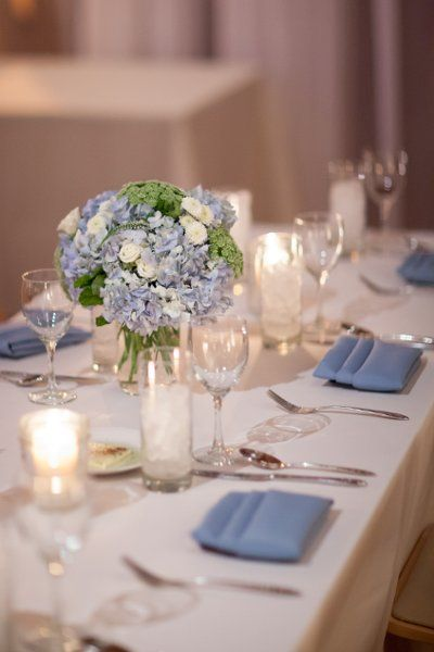 hydrangea - Romantic Rustic Blue Green White Centerpiece Modern Space Winter Wedding Flowers Photos & Pictures - WeddingWire.com