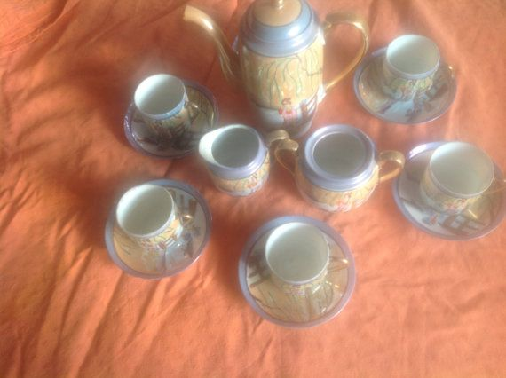 Tea set  hand painted Japanese tea set SALE  by NJscollection, £40.00