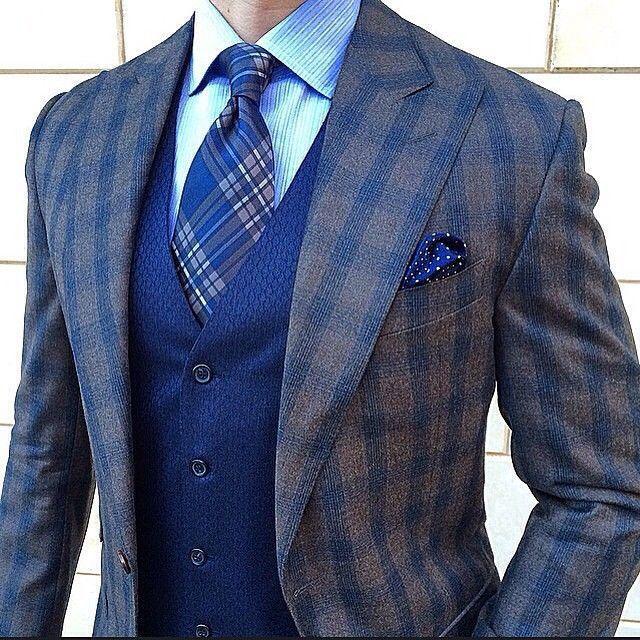 Men's Dark Brown Check Wool Blazer, Blue Waistcoat, Light