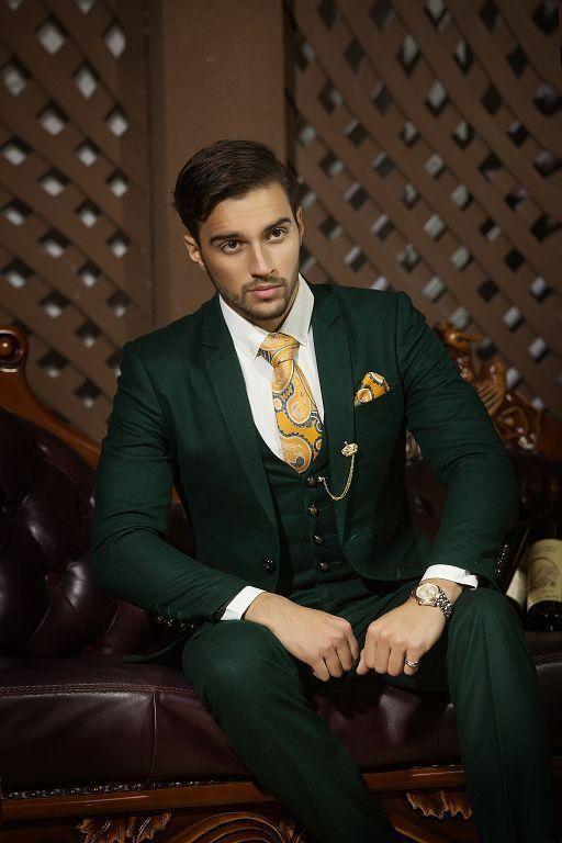Dark Green Custom Made Black Stripe Top New Style Groom Tuxedos Men For Wedding Formal Suits