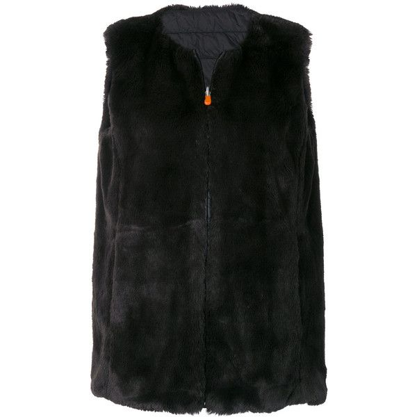 Save The Duck Fury faux fur gilet (287 AUD) ❤ liked on Polyvore featuring outerwear, vests, black, save the duck, faux fur waistcoat, faux fur gilet, faux fur vest and fake fur vest